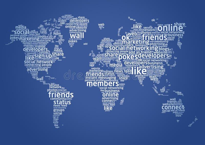 De wereld van sociaal voorzien van een netwerk stock illustratie