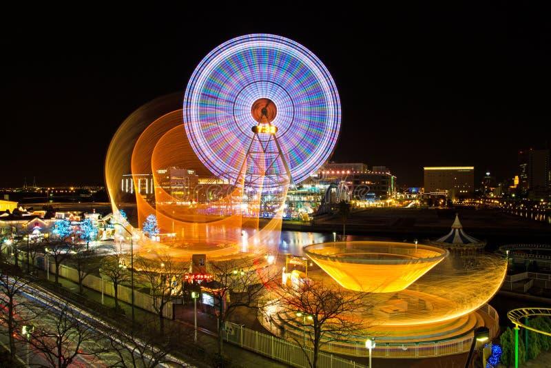 De Wereld van Yokohamacosmo bij nacht in Japan royalty-vrije stock fotografie