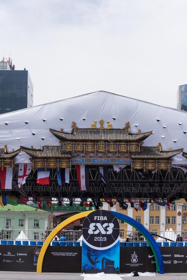 De Wereldbeker 2019 trefpunt van FIBA 3x3 U18, Ulaanbaatar, Mongolië stock afbeelding