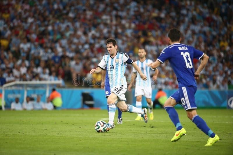 De Wereldbekervoetbal van Argentinië en van Bosnië 2014 royalty-vrije stock foto's