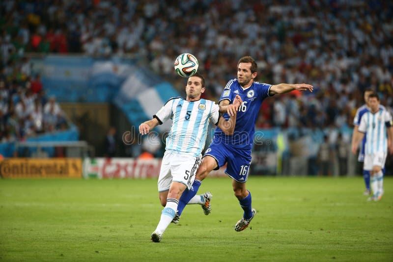 De Wereldbekervoetbal van Argentinië en van Bosnië 2014 stock foto's