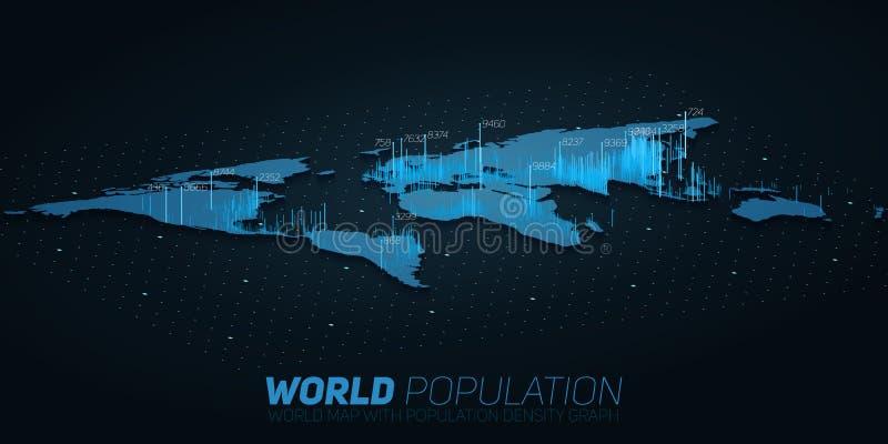 De wereldbevolking brengt grote gegevensvisualisatie in kaart Futuristische infographic kaart Informatieesthetica Visuele gegeven vector illustratie