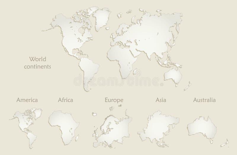 De wereldcontinenten brengen, Amerika, Europa, Afrika, Azië, Australië, oud document in kaart stock illustratie