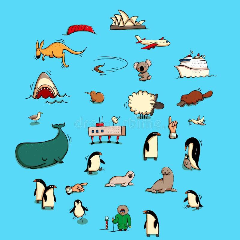 De wereldillustraties plaatsen Nr 6: Australië en Antarctica stock illustratie