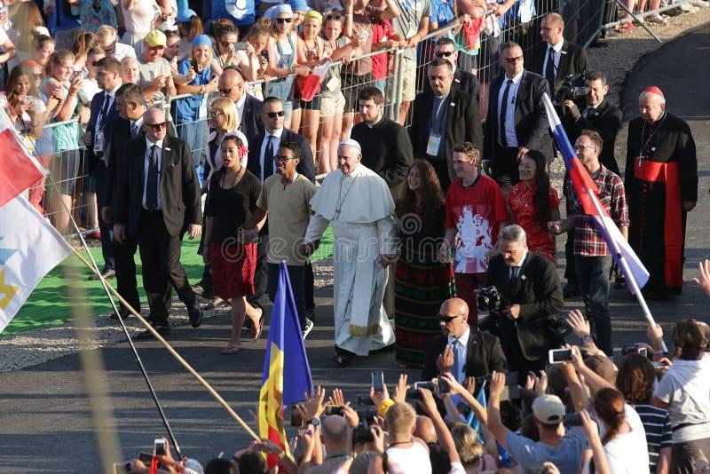 De wereldjeugd Dag 2016 - paus Francis stock foto