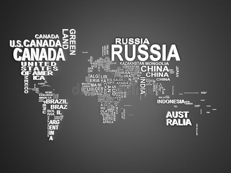 De wereldkaart met alle staten en hun namen 3d illustratie  royalty-vrije illustratie