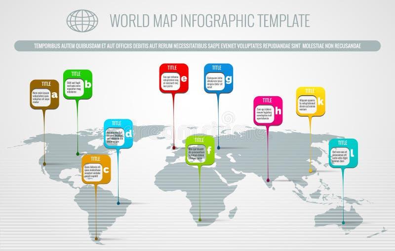 De wereldkaart speldt infographic vector illustratie