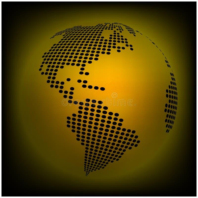 De wereldkaart van de bolaarde - samenvatting gestippelde vectorachtergrond Oranje, gele behangillustratie stock illustratie