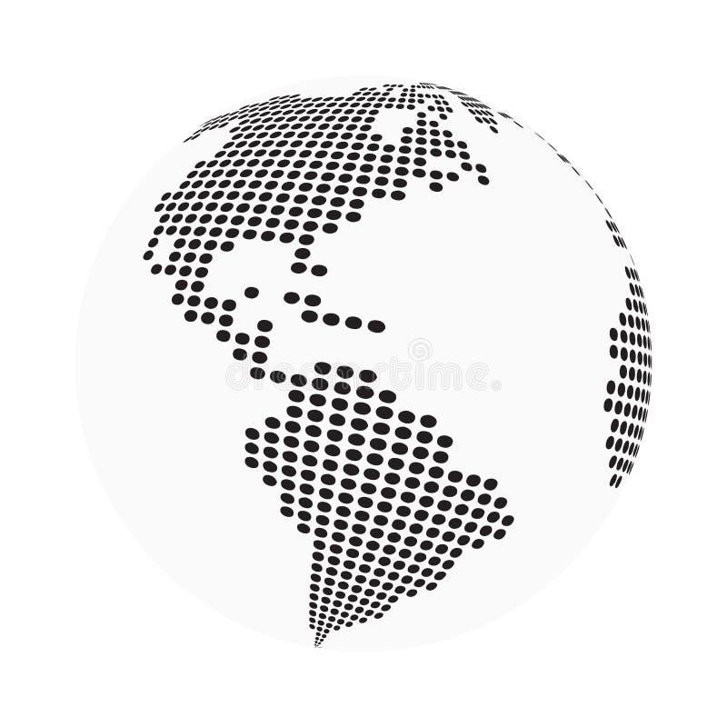 De wereldkaart van de bolaarde - samenvatting gestippelde vectorachtergrond Zwart-witte silhouetillustratie royalty-vrije illustratie