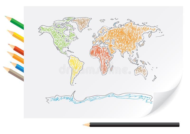 De wereldkaart van de tekening door een kleurenpotloden vector illustratie