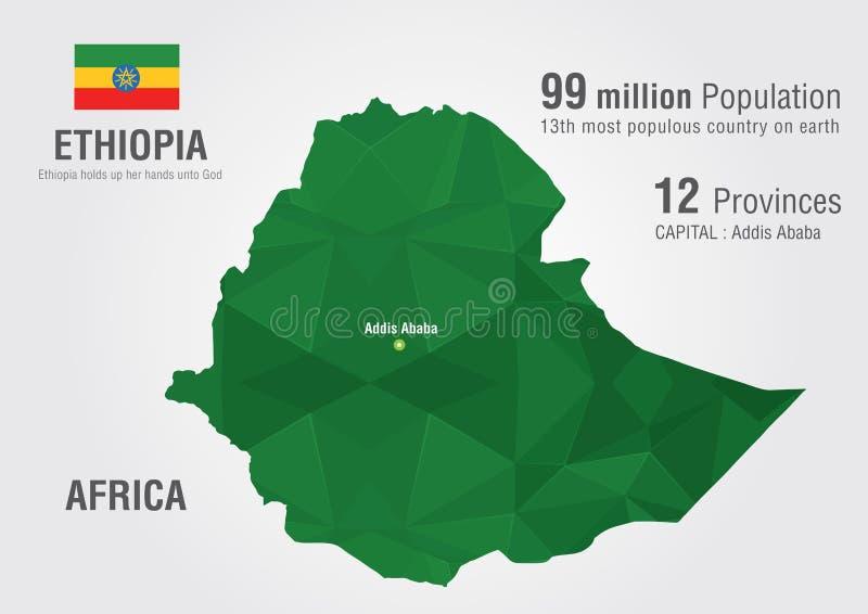 De wereldkaart van Ethiopië met een textuur van de pixeldiamant royalty-vrije illustratie