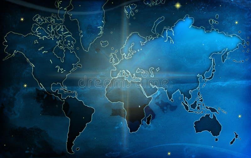De wereldkaart van Grunge stock illustratie