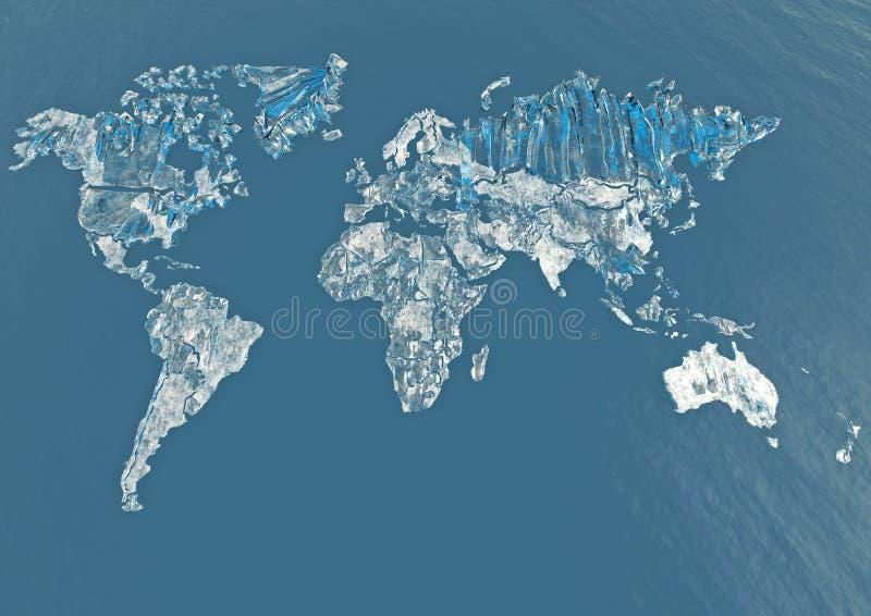 De wereldkaart van het ijs vector illustratie