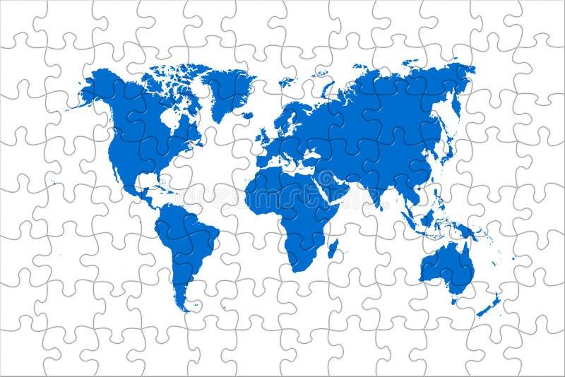 De wereldkaart van het raadsel vector illustratie