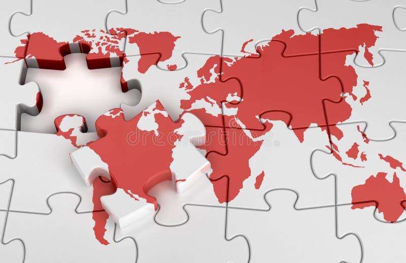 De wereldkaart van het raadsel stock afbeelding