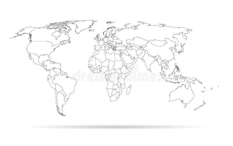 De wereldkaart van het schetsoverzicht stock illustratie