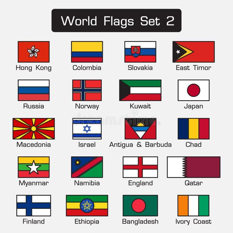De wereldvlaggen plaatsen 2 eenvoudige stijl en vlak ontwerp dik overzicht vector illustratie