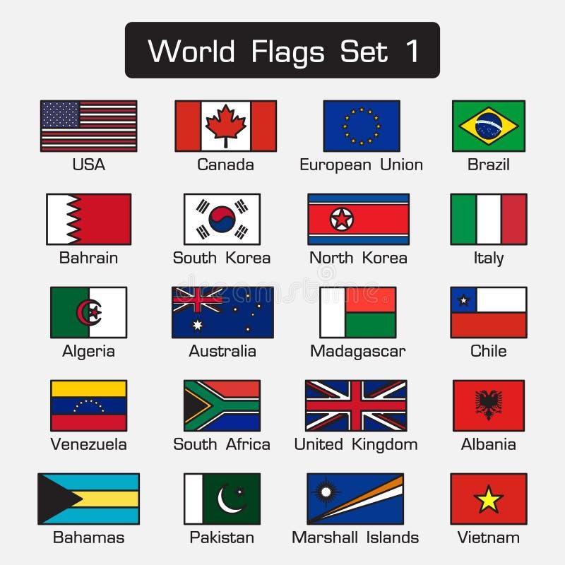 De wereldvlaggen plaatsen 1 eenvoudige stijl en vlak ontwerp dik overzicht royalty-vrije illustratie