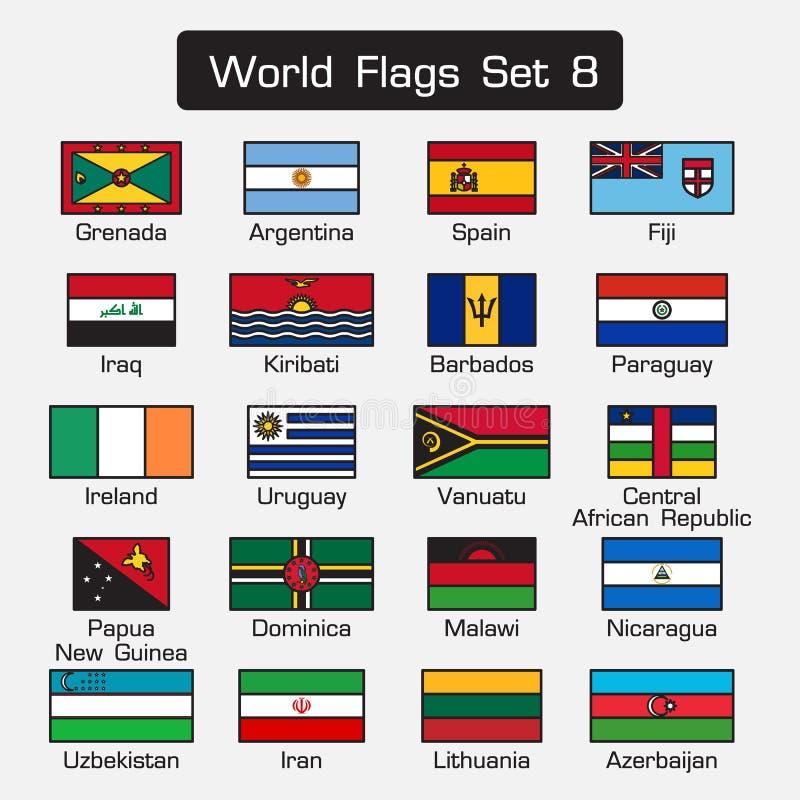 De wereldvlaggen plaatsen 8 eenvoudige stijl en vlak ontwerp dik overzicht vector illustratie