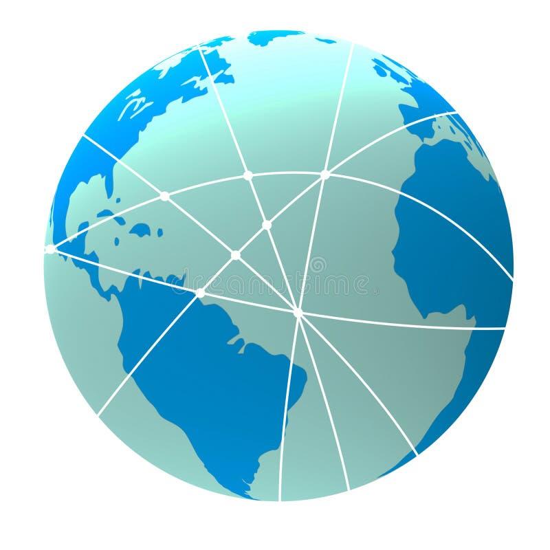 De wereldvluchten betekent Globaal Vliegtuig en globaal vector illustratie