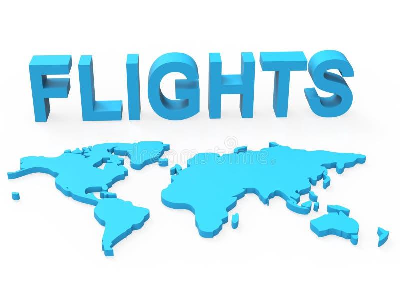 De wereldvluchten toont Vliegtuigvervoer en Wereldlijk stock illustratie