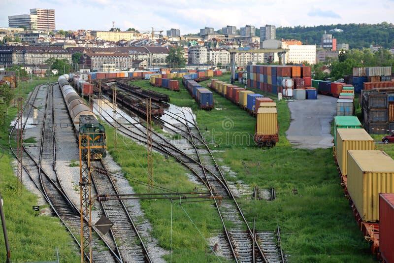 De werf van de spoorweg stock afbeeldingen