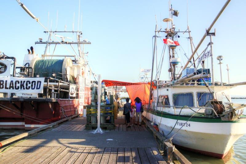 De Werf van de visser bij Steveston-Dorp in Richmond, BC stock afbeelding