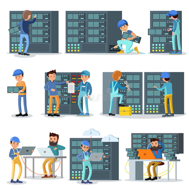 De Werkende Geplaatste Mensen van het gegevenscentrum stock illustratie