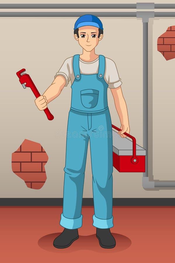 De werkende Illustratie van Loodgieterwith his tools vector illustratie