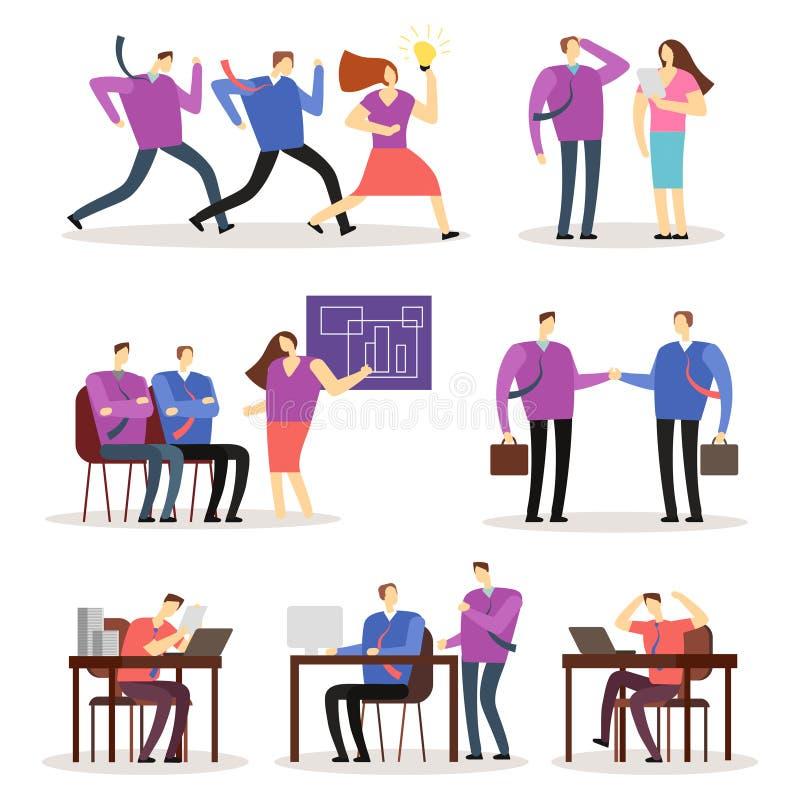 De werkende karakters van het mensen vectorbeeldverhaal Vrouwen en mannen bedrijfsmensen die in diverse situatie handelen stock illustratie