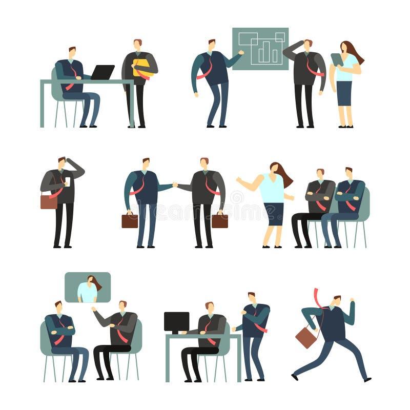 De werkende karakters van het mensen vectorbeeldverhaal Werknemersvrouwen en mannen in bureau, medewerkers voor bedrijfsconcept vector illustratie