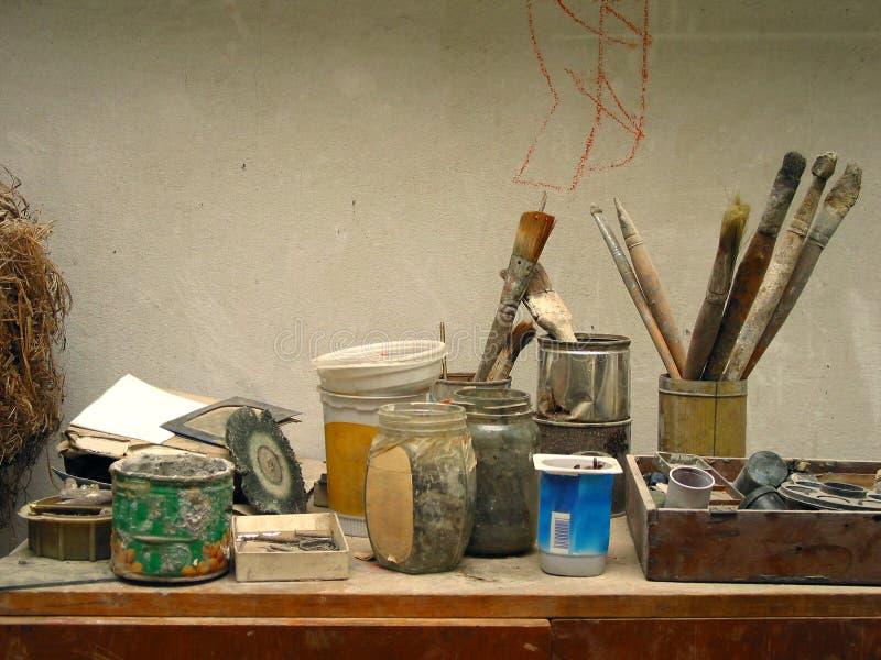 De werkende plaats van de schilder stock fotografie