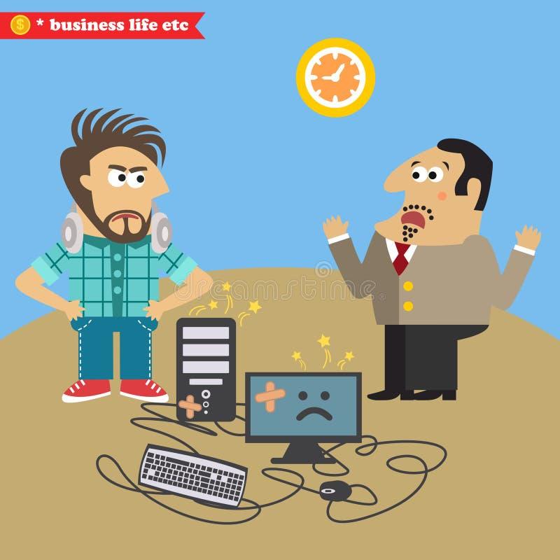 De werkgever brak zijn computer en niet beviel IT geek royalty-vrije illustratie