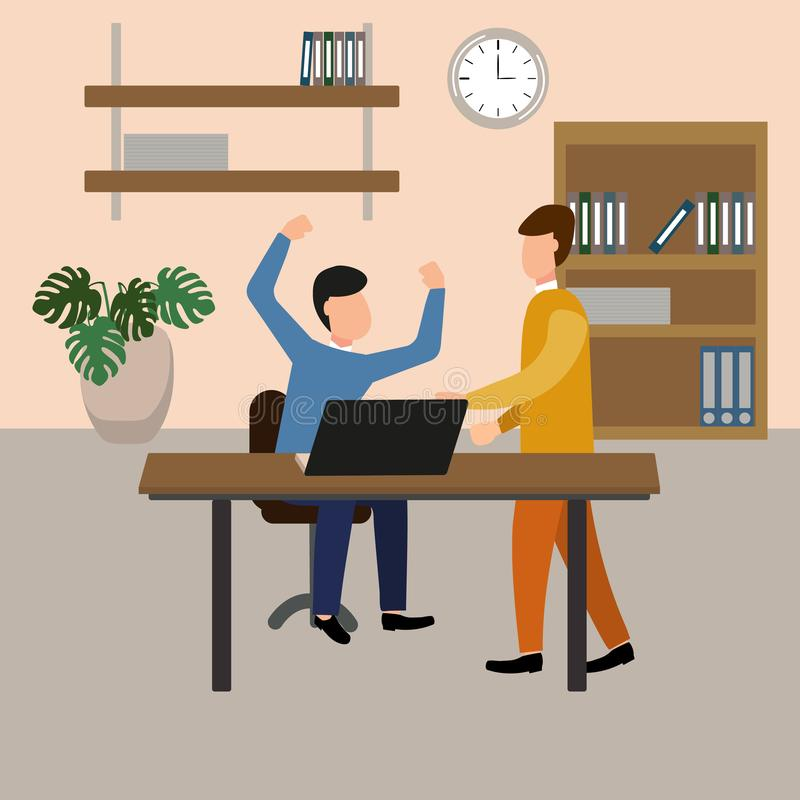 De werkgever gilt bij de ondergeschikte in het bureau Vectorillustratie, vlakke ontwerpstijl stock illustratie