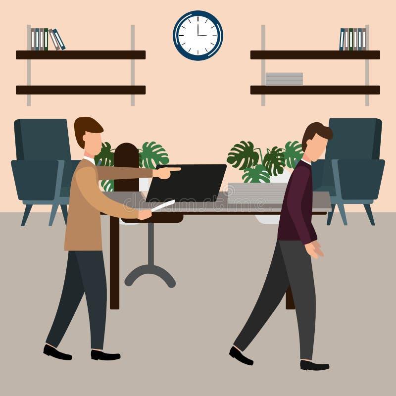 De werkgever gilt bij de ondergeschikte in het bureau Vectorillustratie, vlakke ontwerpstijl vector illustratie