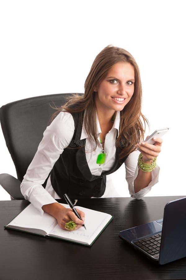 De werkgever - Preety-het bedrijfs secretarry vrouw werken in bureau is stock afbeelding