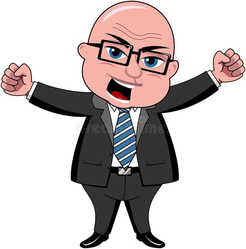 De Werkgever van zakenmanbald cartoon angry royalty-vrije illustratie
