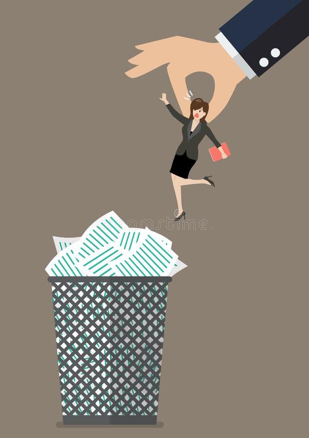 De werkgever werpt een bedrijfsvrouw in de vuilnisbak royalty-vrije illustratie
