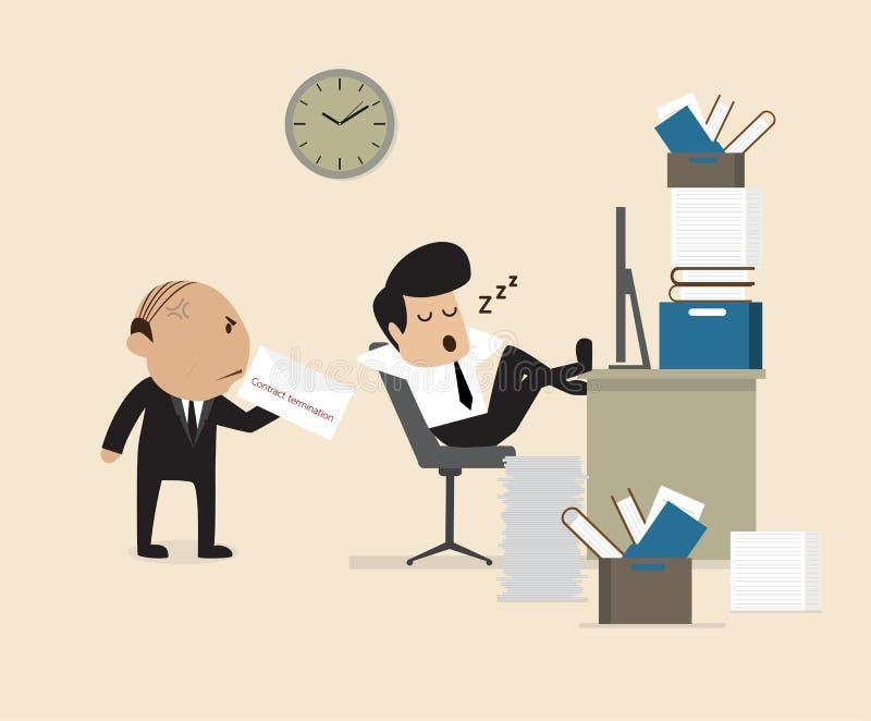 De werkgever ziet Werknemersdaling assleep tijdens het werken vector illustratie