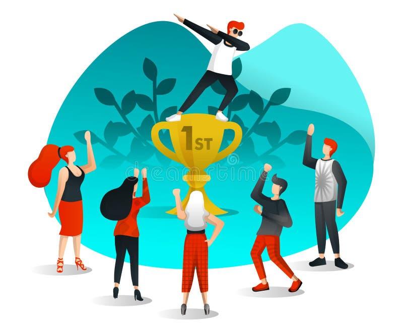 De werknemer bereikt met succes Doel, viert door zich in Eerste Trofee Te bevinden en Gewaardeerd door Collega's Vlakke beeldverh vector illustratie