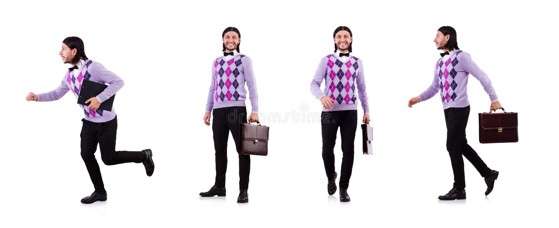 De werknemer met aktentas op wit wordt geïsoleerd dat stock afbeeldingen