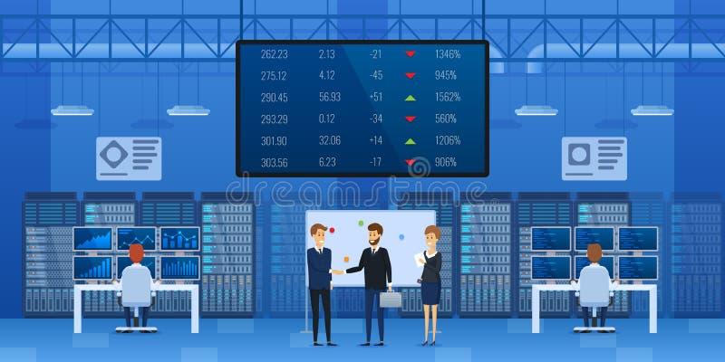 De werknemers van financieel centrum bespreken lopende zaken vector illustratie