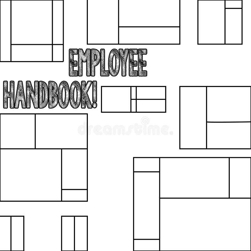 De Werknemershandboek van de handschrifttekst Concept die Document Handverordeningen het Beleidscode betekenen van de Regelshandl royalty-vrije illustratie