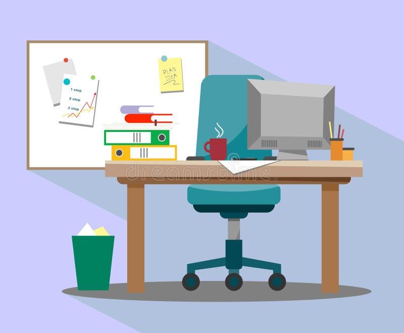 De werkplaats in het bureau met een leunstoel, een computer en een magnetische teller schepen voor opnameideeën en presentaties i