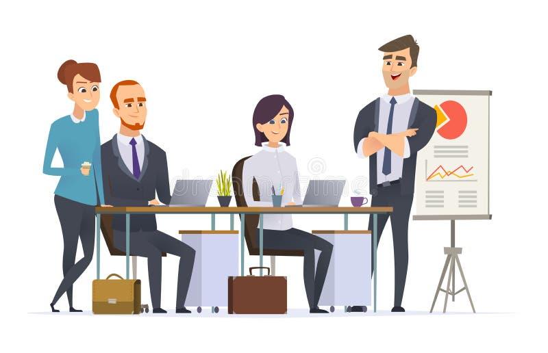 De werkplaats van groepsmanagers Analyseert de werkende deskundige van het zakenmanteam professionele specialistenmensen bij het  royalty-vrije illustratie