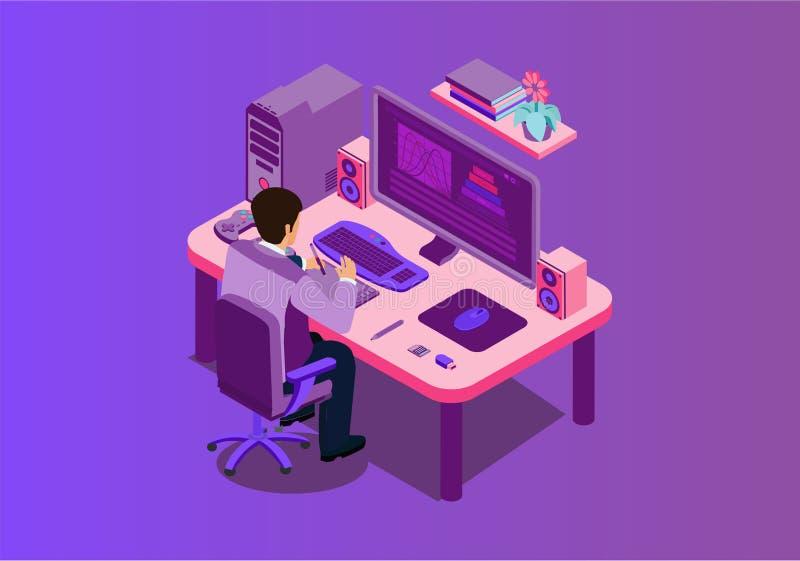 De werkplaats vectorillustratie van bedrijfsbureaumensen stock illustratie