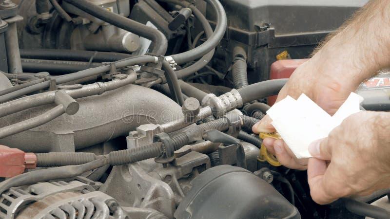 De werktuigkundige controleert het niveau van de de motorolie van de automotor stock videobeelden