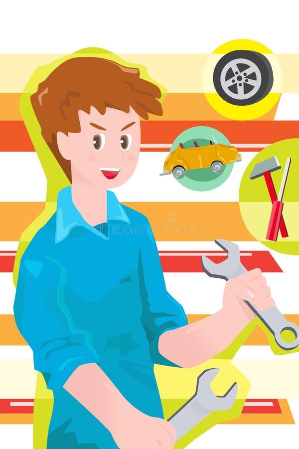 De werktuigkundige van de auto royalty-vrije illustratie