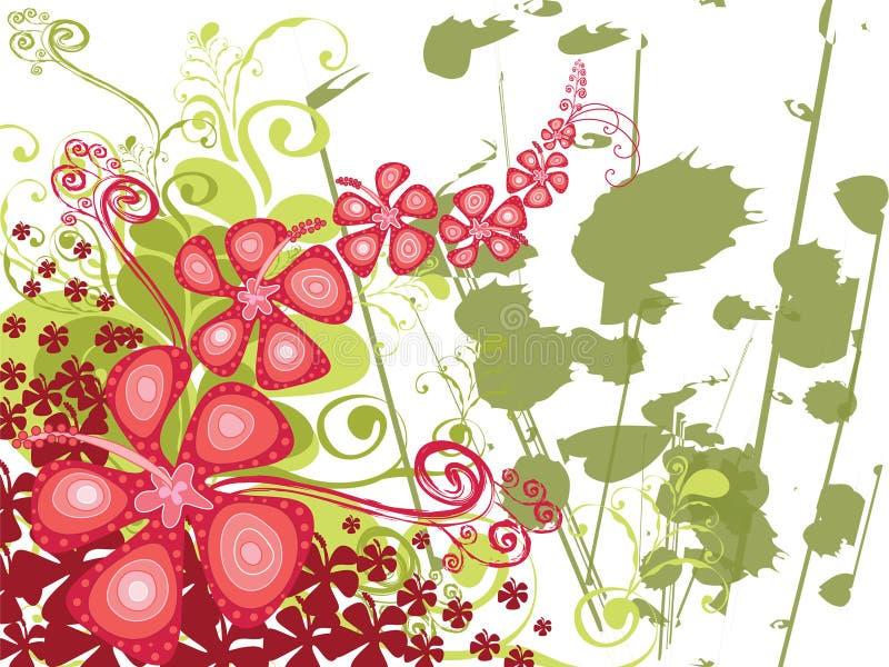De werveling van de hibiscus grunge vector illustratie