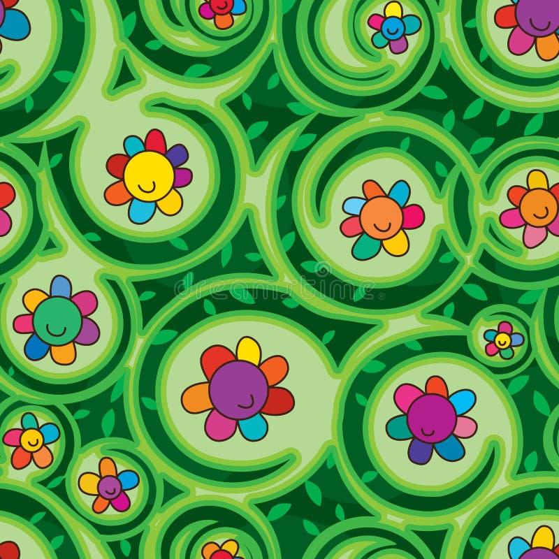 De wervelings naadloos patroon van de bloemdroom stock illustratie